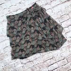LUX [UO] Silk Floral Ruffled Mini Skirt